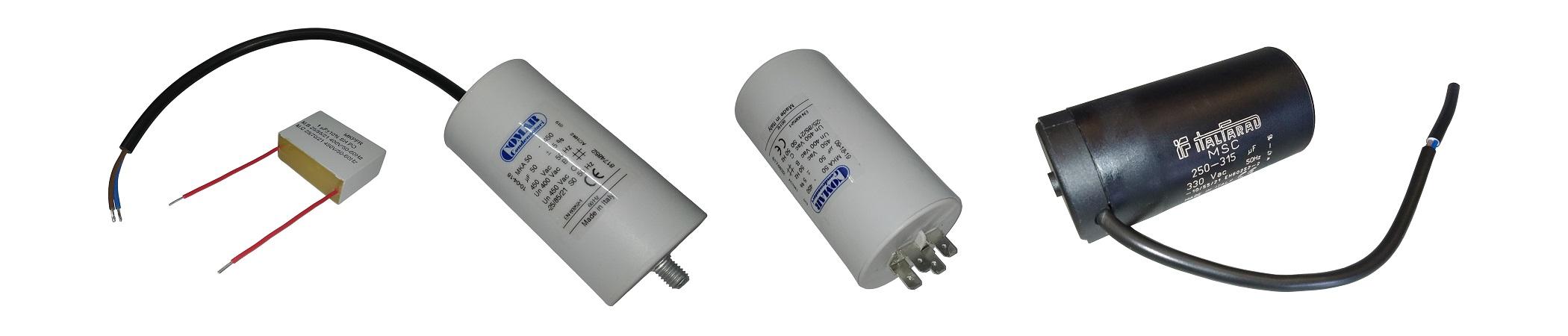 Kondensatory rozruchowe, kondensatory na przewód, kondensatory przedziałowe, kondensator silnika elektrycznego