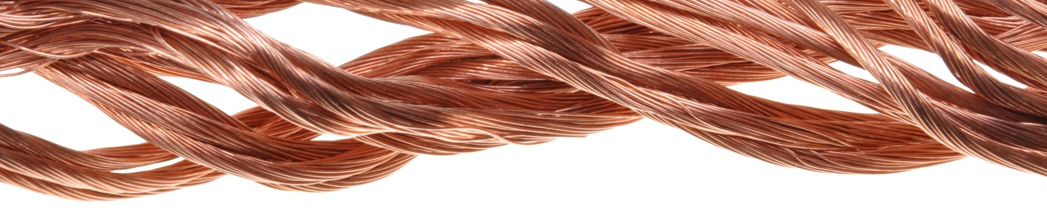 Linka miedziana, przewód miedziany, linka z drutu miedzianego, spleciony drut miedziany